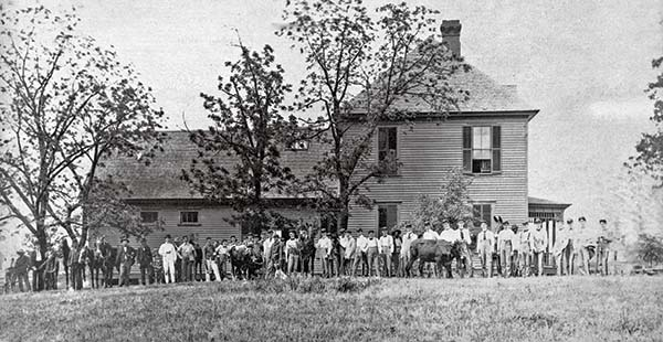 Veterinary students lined up in front of building