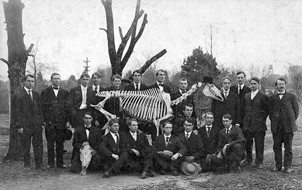 Dr. Cary and student pose with horse skeleton circa 1907