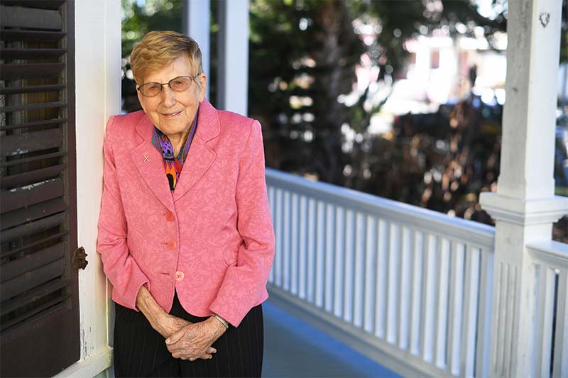 Dr. Pennings on her porch